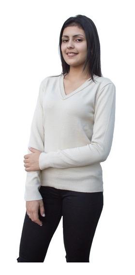 Blusa De Frio Feminino Suéter Tricot Gola V Liso Inverno