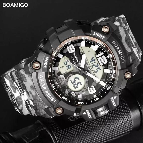 Relógio F5111 Militar Camuflado Digital Analógico Promoção