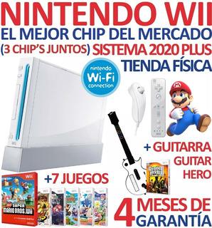 Consola Nintendo Wii + Chip 2020+7 Sorpresas+ Guitarra (70v)