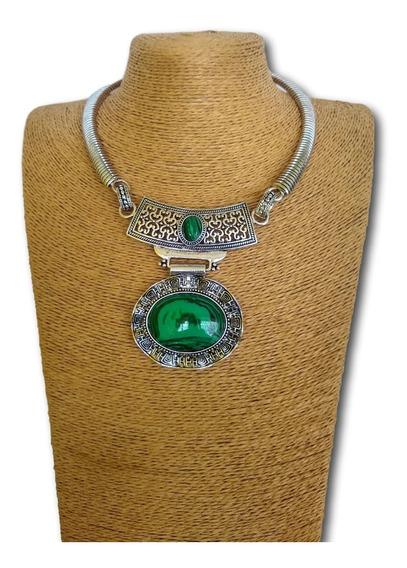 Colar De Pedra Natural Malaquita Ref: 9809 - Verde - Moda