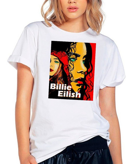 Playera Billie Eilish Rostros Perfil Arte E - Pop Camiseta