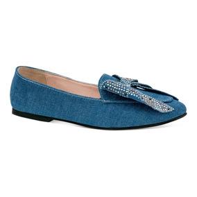 Gosh Zapatos Flats Casual Moño Mezclilla Estoperoles 0378791
