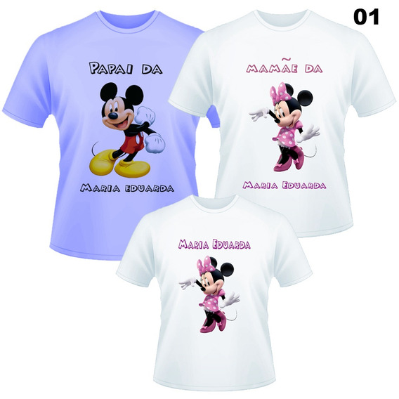 Kit Aniversário 3 Camisetas - Mikey E Minnie