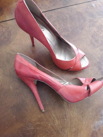 Zapatos Estiletos Numero 40 Marca Via Uno Coral