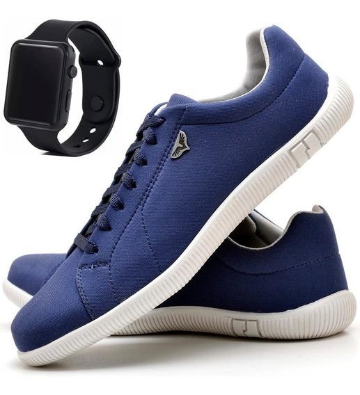 Tenis Masculino Azul Sapato Relógio Digital Led