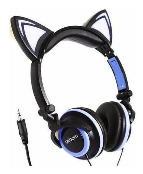 Fone De Ouvido Gatinho Preto E Azul P2 Lindo Elegante