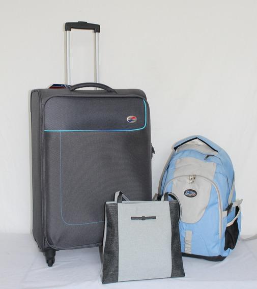 Maleta 24 Pulgadas American Tourister Mas Mochila Y Bolsa