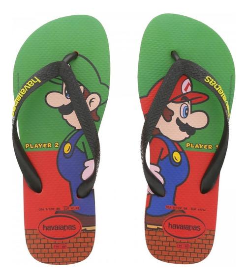 Chinelo Adulto Havaianas Mario Bros Na Caixa
