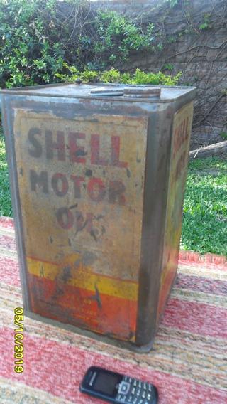 Antigua Lata Aceite Shell Motor Oil 20 Litros Ostra En Tapa