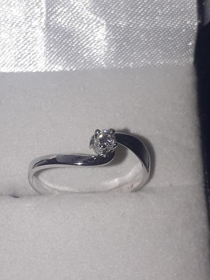 Anillo De Oro Blanco De Compromiso Diamante Natural # 5