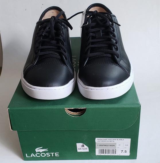 Tenis Lacoste Showcourt Piq Leather Preto T39