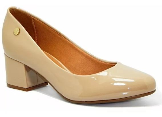 Sapato Scarpin Vizzano Verniz Salto Grosso Bico Redondo Bege