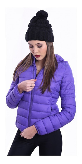 Campera Inflable Corta Impermeable Capucha Mujer Nofret
