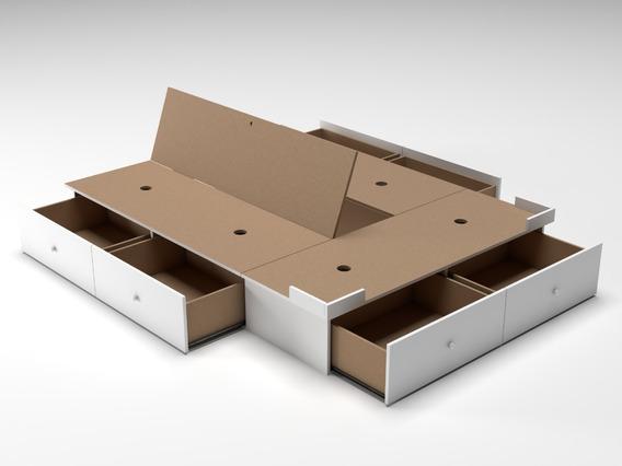 Base Box Cama Sommier 6 Cajones 2 Dos Plazas 1,40 X 1,90