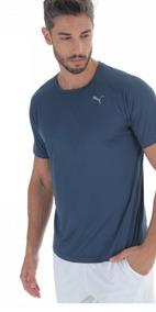 Camisa Puma 100% Original Core Run Ss Tee Azul Bem Escuro