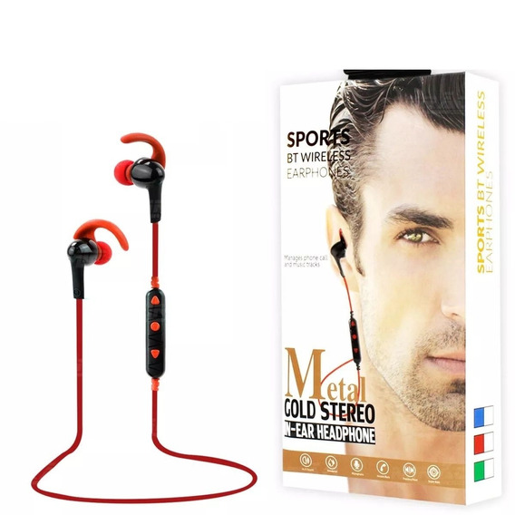 Fone Bluetooth Intra-auricular Metal Gold Stereo Exbom Bt-2