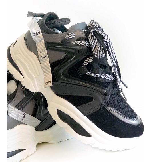 Tênis Chunky Dad Sneaker Preto Prata Envio Imediato Original