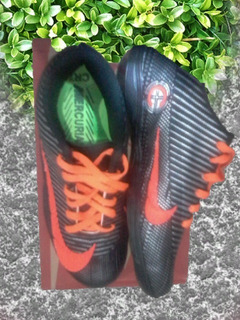Chuteira Futsal Nike Mercurial Cr7 Preto+prata+laranja