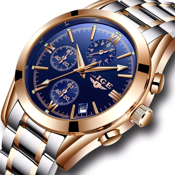 Relógio Masculino Lige Aço Inox Prova D
