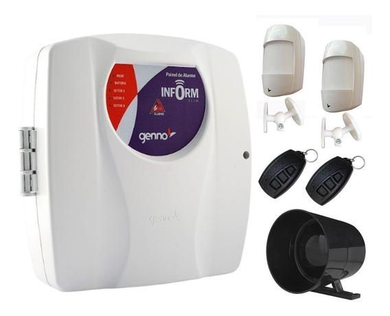 Alarme Inform Slim 3 Genno Com 2 Sensores Sem Fio E Sirene