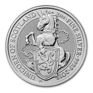 Moneda 2 Oz Plata Pura Coleccion Queen Beasts Unicornio 2018