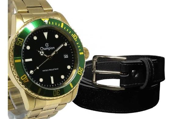 Relógio Champion Masculino Dourado Det. Verde + Cinto Social