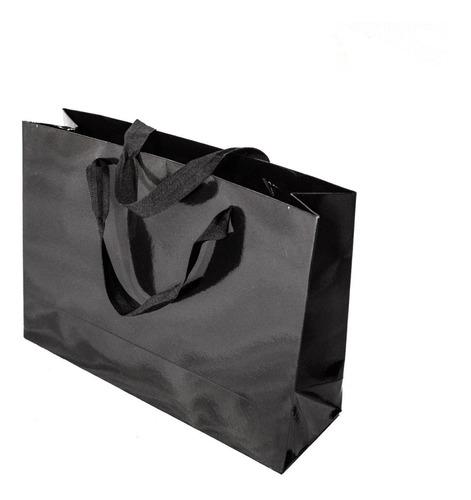 Bolsa Cartulina Negra Laminada 32x10x23 Con Manija X100