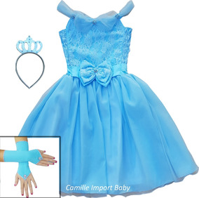 Vestido Infantil Frozen Cinderela Com Tiara Luvas Frete Free
