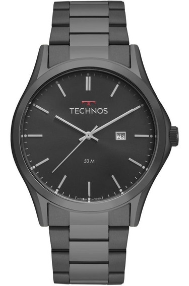 Relógio Masculino Technos Steel 2115msh/4p 46mm Aço Preto