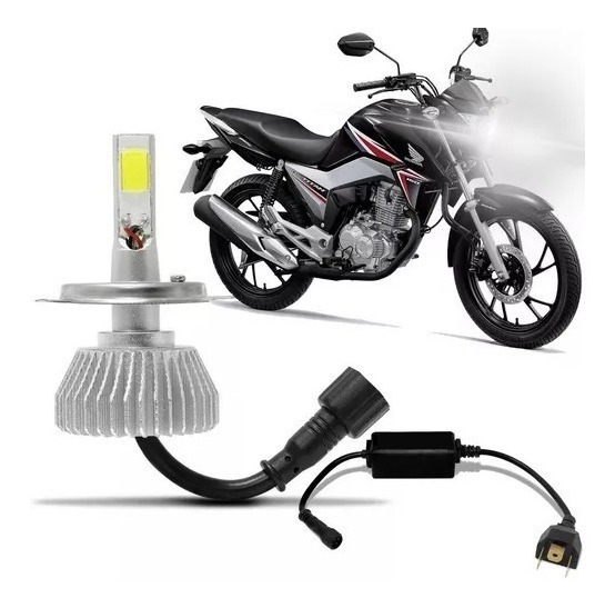 Lampada Super Led Farol Moto Honda Cg Fan E Titan 160 6000 K