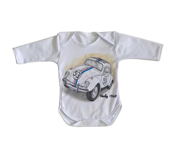 Body Criança Roupa Bebê Herby 1968 Fusca Carro Volkswagen