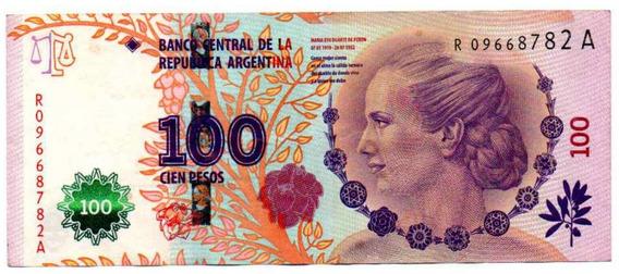 Billete 100 Pesos Reposición Evita Serie A