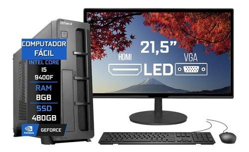 Imagem 1 de 4 de Pc Completo Fácil Slim I5 9400f 8gb Ssd 480gb Monitor 21,5