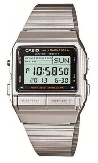 Relógio Casio Masculino Vintage Prata Data Bank Original