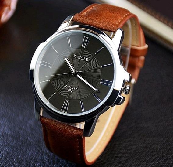 Kit 2 Relógios Masculinos Yazole Pulseira Couro C/ Aço Inox