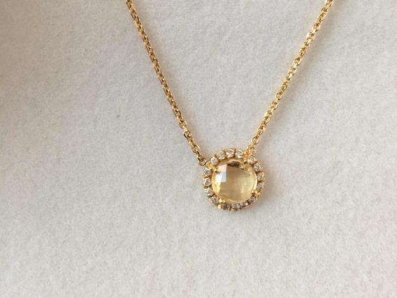 Collar Gargantilla Oro 14k Citrina Diamantes