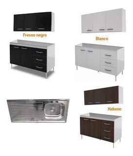 Muebles Cocina Fresno Completo Bajo Mesada Bacha Alacena 120