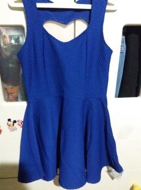 Vestido Verão Azul Coração Nas Costas De Tule Meninas Tam 7