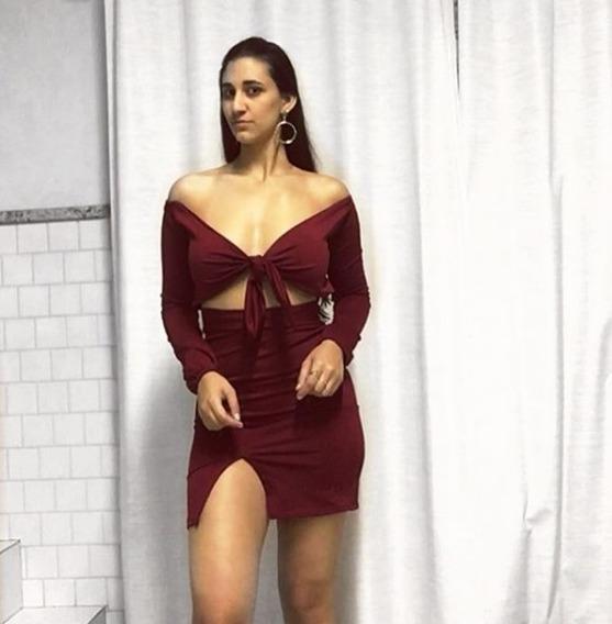 Vestido Lascado Colado Midi Vinho Com Cropped Laço Decote