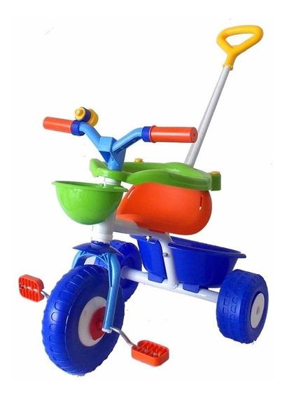 Triciclo Infantil Rondi Blue Metal C/manija Y Aro Sujetador