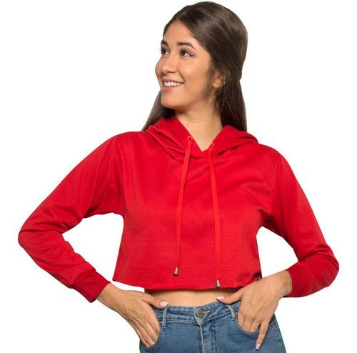 Buzo Saco Hoodies Corto Color Rojo Mujer Niña Tela Calidad