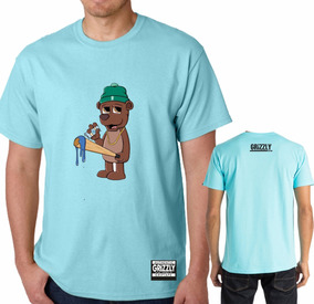 Camisa Camiseta Azul Claro Bear Urso Skate Sk8 Oferta Promo