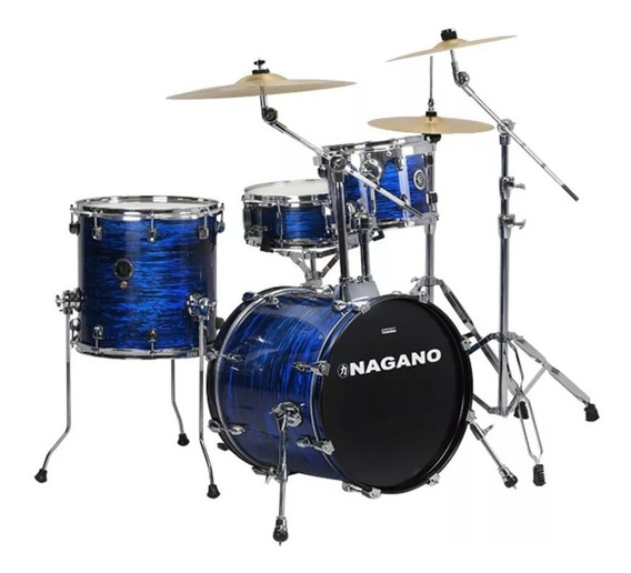 Bateria Acústica Compacta Nagano Concert Gig Bumbo 18 Azul