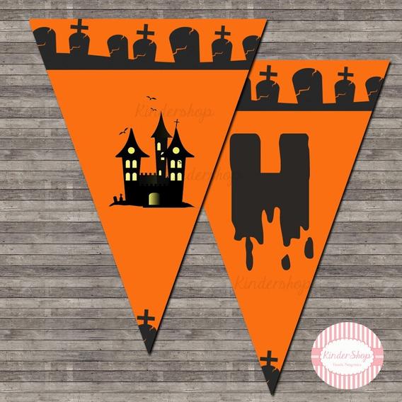 Halloween Noche De Brujas Banderin Imprimible Personalizado