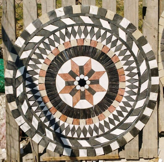 Tapete Mosaico Caleidoscopio Flor En Marmol