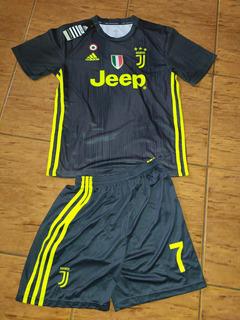 Camisa Infantil Juventus Away #7 Ronaldo + Shorts Pronta Ent