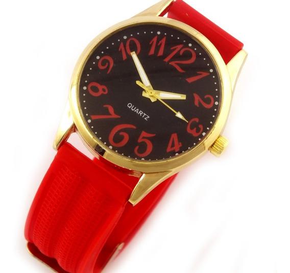 Relógio Feminino Quartz Com Pulseira Vermelha Borracha B5633
