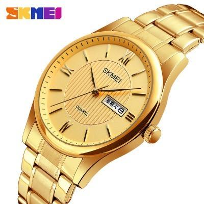 Skmei Dourado Homens Relógio De Quartzo Moda Masculino