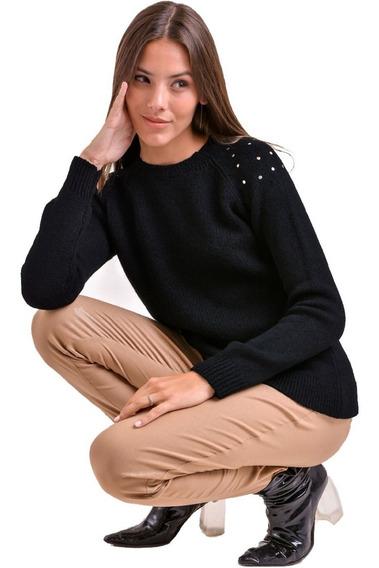 Sweater Cuello Redondo C/ Tachas Saco Lana Mujer Kierouno