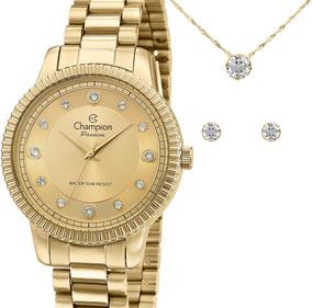 Relógio Champion Feminino Dourado Cn29829e + Kit